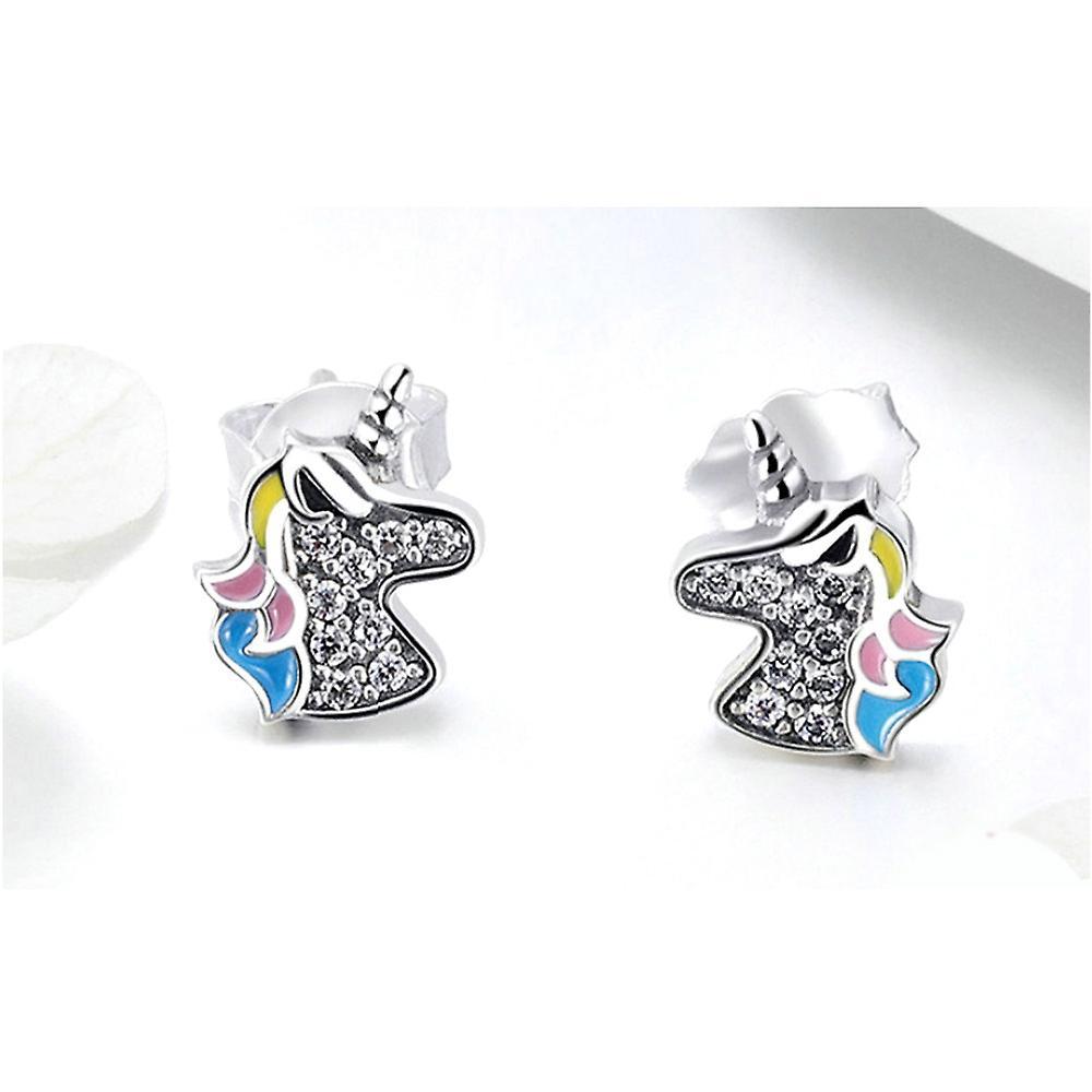 Boucles d'oreilles Femme Licorne orné de Cristal de Swarovski Blanc et Argent 925 8102