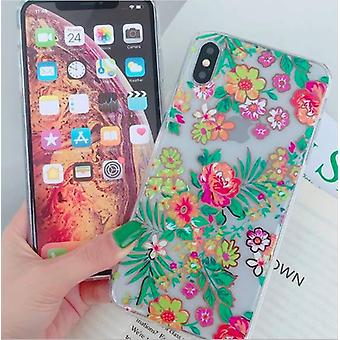 Mobile shell for iPhoneXR in beautiful floral pattern pink & green