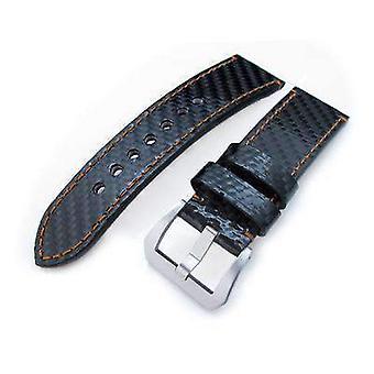 Strapcode carbon fibre watch 24mm miltat glossy genuine carbon fiber watch band, orange stitching, xl