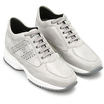 Hogan Women's Mode Schnürschuhe Sneakers Schuhe in hellgrauem Wildleder
