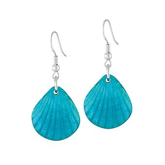 Eternal Collection Coastal Turquoise Silvered Resin Seashell Drop Pierced Earrings