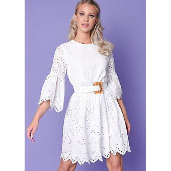 Broderie Anglaise Flare Sleeve Gathered Kleid weiß