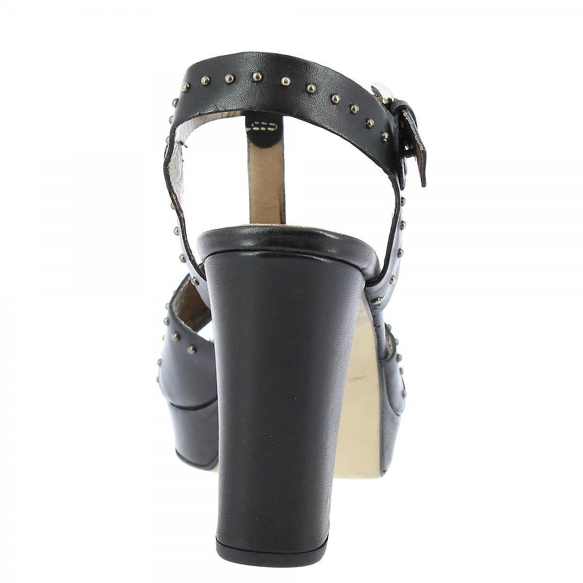 Leonardo Shoes Women's handmade heels platform sandals in black leather buckle gZfsB