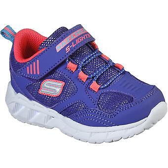 Skechers Kids S Lights Magna-Lights Expert Level Touch Fixaing Trainer Blue/Coral