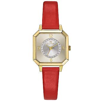 Watch Clyda CLD0503PTAR - Bo tier Steel Dor Bracelet Red Leather Leather Dial Nacr Woman