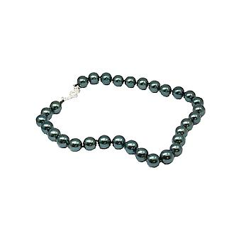 "Peace of Mind Viridian Green Simulated Pearl Necklace 18"", with T-Bar Closure"