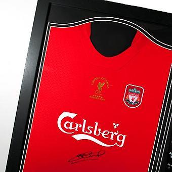 Liverpool Gerrard unterzeichnet Shirt Istanbul (gerahmt)