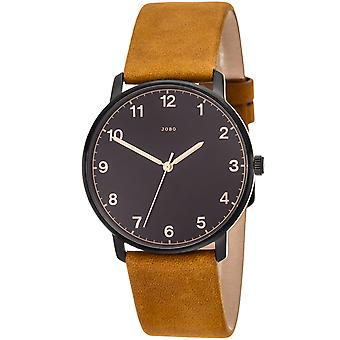 JOBO men's wristwatch quartz analog stainless steel leather strap Brown mens watch