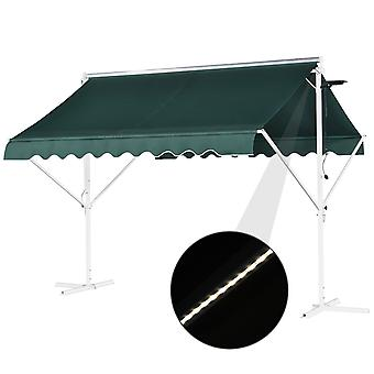 Outsunny 3x3(m) Dual Manual Canopy w/ Solar LED Lights Cross Base Outdoor Sunshade Freestanding Retractable Awning Cross Base for Garden Patio Outdoors Duo Design Green