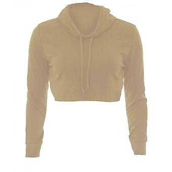Dames Raw Edge Cropped Hoodie