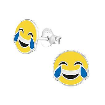 Kyyneleet iloa Emoji - 925 sterlinghopea värikäs korva nastat - W36967x