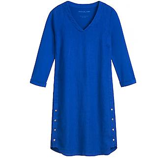Sandwich Clothing Vibrant Blue Linen Shift Dress