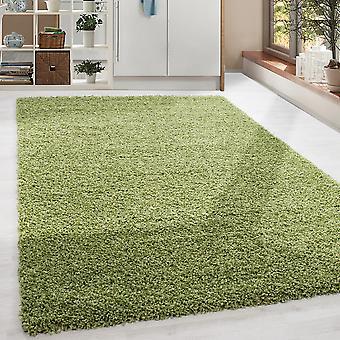 Shaggy High Flor LongFlor Rug Soft Living Room Rug Color Verde Sólido Color Sólido