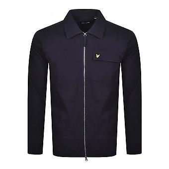 Lyle & Scott | Lw1216v Twill Overshirt Cotton Zip Through Collar Jacket - Navy