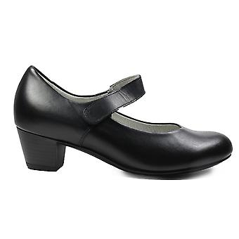 Waldläufer Hilaria 358303 186 001 Black Leather Womens Heeled Mary Jane Shoes