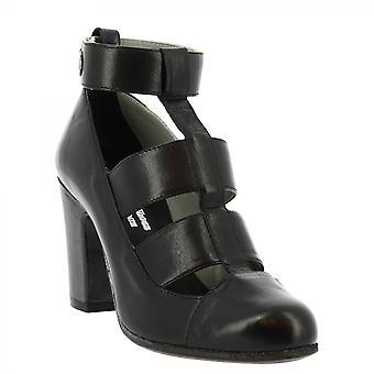 Leonardo Shoes Women-apos;s bottes de cheville à talons faits à la main dans une boucle en cuir de veau noir
