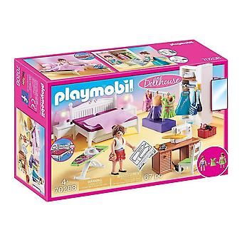 playmobil 70208 dollhouse bedroom with sewing corner playset 67pcs for ages 4