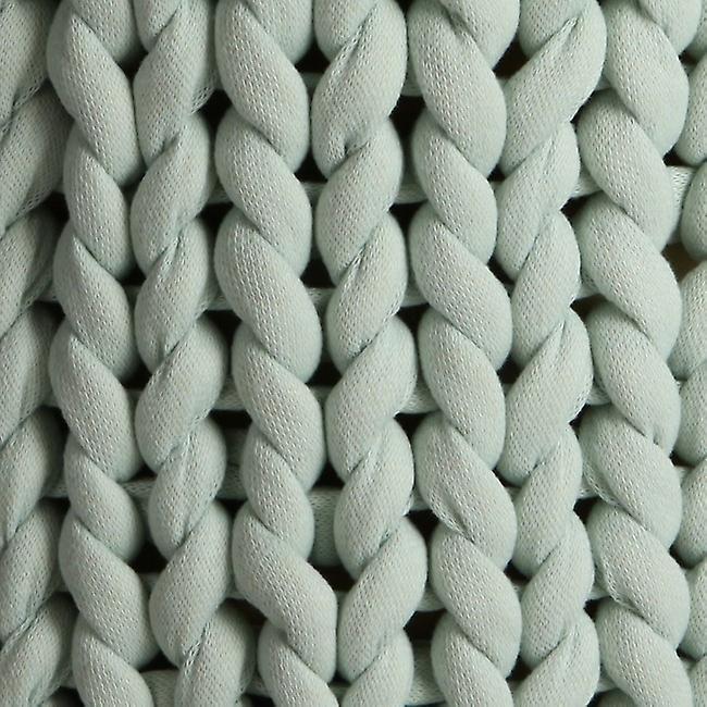 Pouf Knitted Colore Verde Chiaro, Legno in Cotone, Poliestere, L40xP40xA45 cm