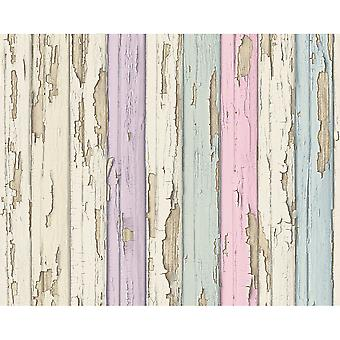 A.S. Creation AS Creation Painted Wood Beam Pattern Realistic Embossed Vinyl Wallpaper