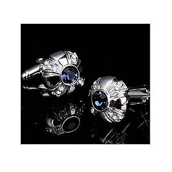 Royal Circle Blue Silver Cufflinks Fit For a King Round Premium Blue Stone