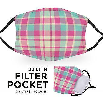 Pink Madras Tartan - Reusable Adult Cloth Face Masks - 2 Filters Included