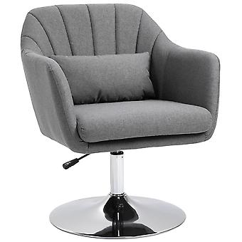 HOMCOM Swivel Accent Chair for Living Room Contemporary Vanity Armchair with Adjustable Height Thick Cushion Lumbar Support Armrest for Bedroom Office Grey