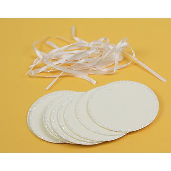 10 Ivory Card Circle Glitter Edged Gift Tags to Decorate