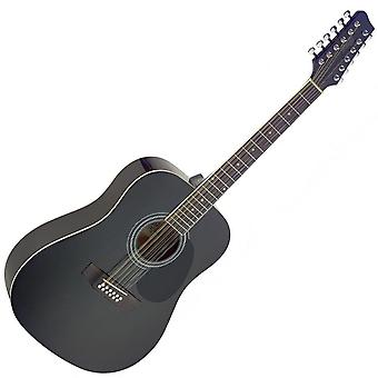 Stagg SA40D-BK Dreadnought Acoustic 12 String Guitar Black