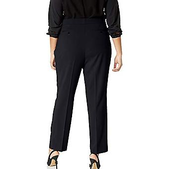Lark & Ro Women's Plus Size Straight Leg Broek Pant: Classic Fit, Navy, 18WS