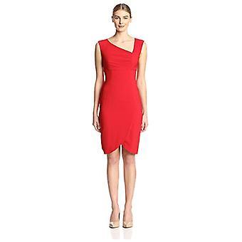 SOCIETY NEW YORK Women's Asymmetrical Neck Dress, True Red, 4 US