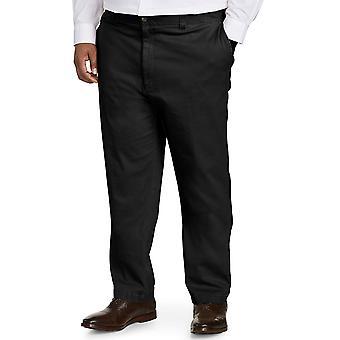 Essentials Mäns Stora & Tall Athletic-fit Casual Stretch Khaki Byxa passform av DXL, Svart 44W x 30L