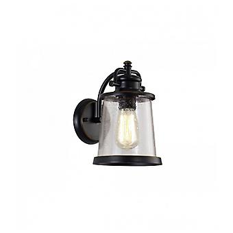 Bender Wall Lamp, 1 X E27, Black/gold With Seeded Clear Glass, Ip54, 2yrs Warranty