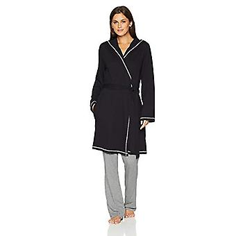 Brand - Mae Women's French Terry Wrap Robe with Hood, Black, Small