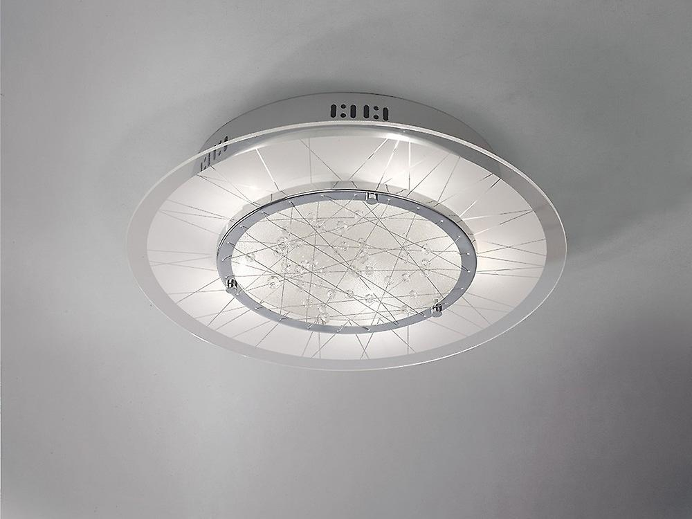 Flush Ceiling Round 5 Light Polished Chrome, Glass, Crystal