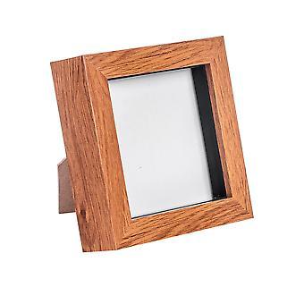 Dark Wood Effect 4x4 Box Photo Frame - Staand en hangend