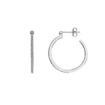 Hot Diamonds Sterling Zilver Witte Topaz Hoop Kleine Oorbellen DE623