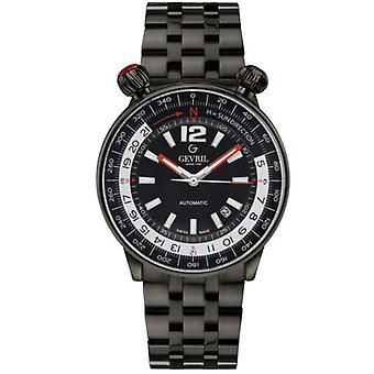 Gevril Men's 48562 Wallabout Swiss Automatic Black Dial Black IP Steel Watch