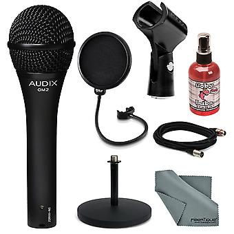 Audix om-2 handhållen dynamisk mikrofon deluxe bunt med mic stand + pop fillter + kabel + mic sanitizer + fibertique rengöringsduk