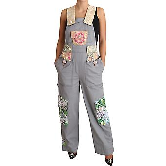 Gray overall jeans gray denim crystal hortensia