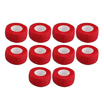 10 PCS 2.5cmx4.5m Bandas cohesivas autoadhesivos cinta atlética roja