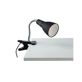 Verstelbare klemtafeltaaklamp, zwart, E14