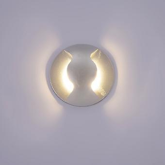 Italux Basilio - Moderno LED lámpara de pared al aire libre plata, blanco cálido 3000K 300lm, IP44