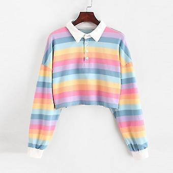 Shirt Women, Sweatshirt Long Sleeve, Rainbow Color, Ladies Hoodies With Button