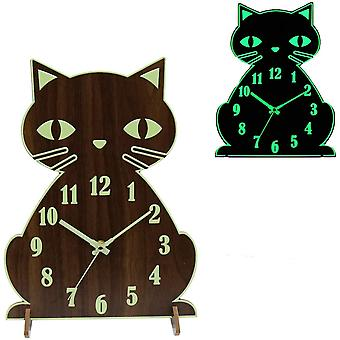 BECANOE Luminous Wooden Wall Clocks Cat Silent Non-Ticking Quartz Bracket Clock