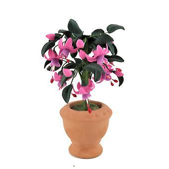 Dolls House Standard Vaaleanpunainen Fuchsia Tree Bush Terracotta Pot Garden -lisävaruste