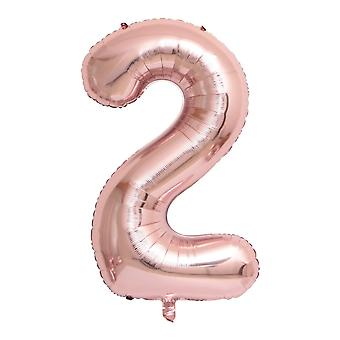 "Rose gold foil party balloon - 80cm (32"") - number 2"