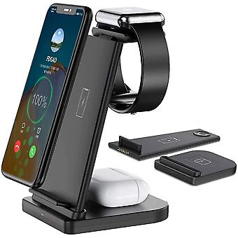 Wireless Charger FDGAO 3 in 1 Wireless Charging Station 15W Fast Charger Stand for Apple Watch 6