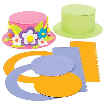 Baker ross ac735 coloured top hat craft kits for kids to design, decorate and wear, assorted, (pack