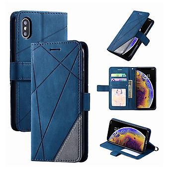 Material Certificado® Xiaomi Mi 8 Lite Flip Case - Leather Wallet PU Leather Wallet Capa Cas Case Azul