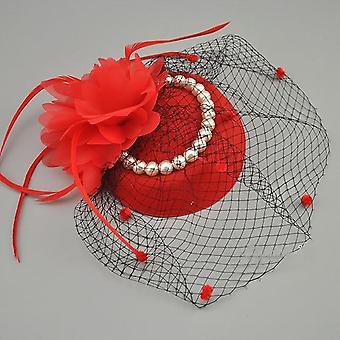 Sombreros nupciales vintage birdcage net con perla de plumas